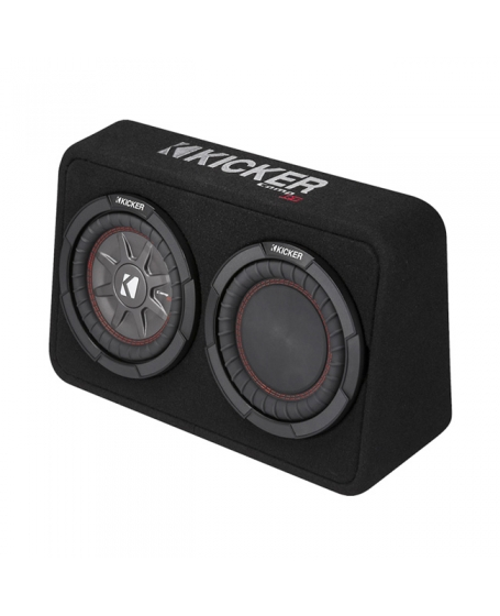 KICKER Car Audio CompRT 8 inch Thin Loaded Enclosure with Reflex Subwoofer, 600W - 43TCWRT82
