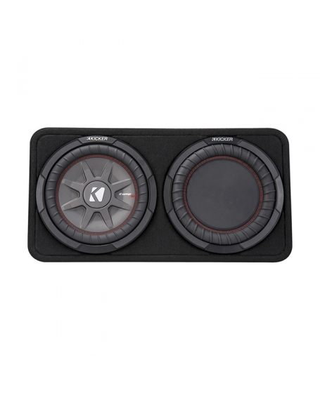 KICKER Car Audio CompRT 10 inch Thin Loaded Enclosure with Reflex Subwoofer, 800W - 43TCWRT102